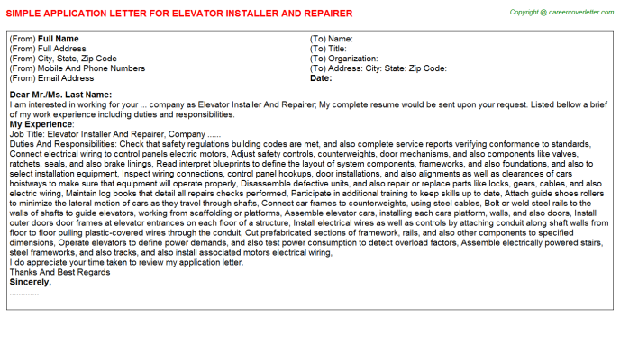 Elevator Installer And Repairer Job Application Letters