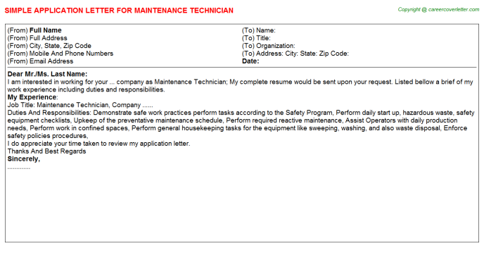 Maintenance Technician Application Letter Template