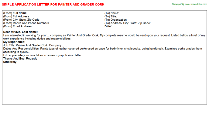 painter and grader cork application letter template