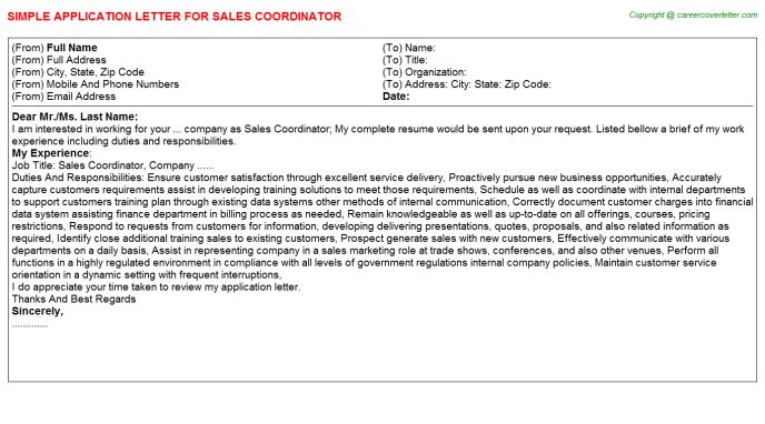 Sales Coordinator Application Letter Template