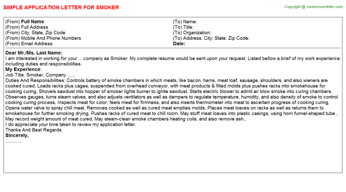 Smoker Job Application Letter Template