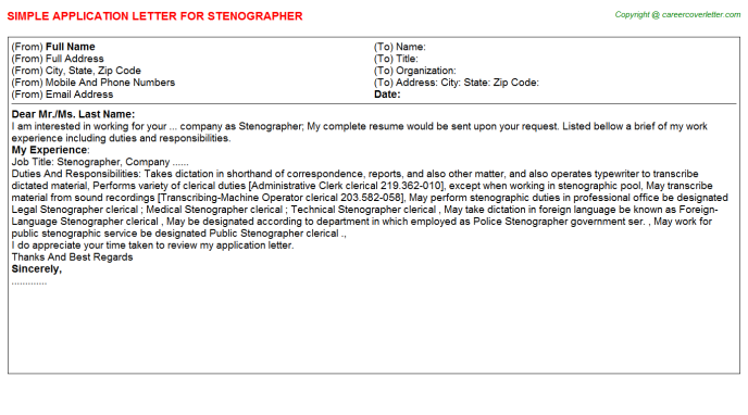 Stenographer Job Application Letter Template