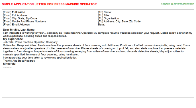 Press Machine Operator Job Application Letter Template