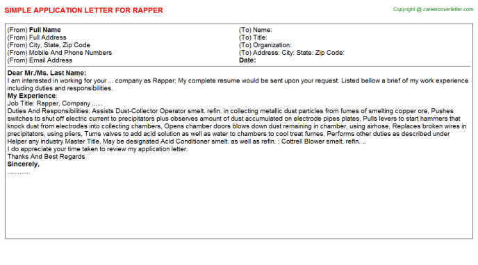 Rapper Job Application Letter Template