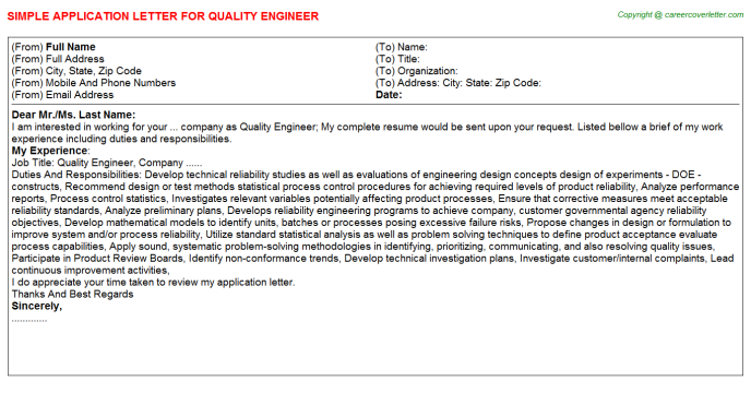 Quality Engineer Application Letter Template