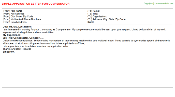 Compensator Job Application Letter Template