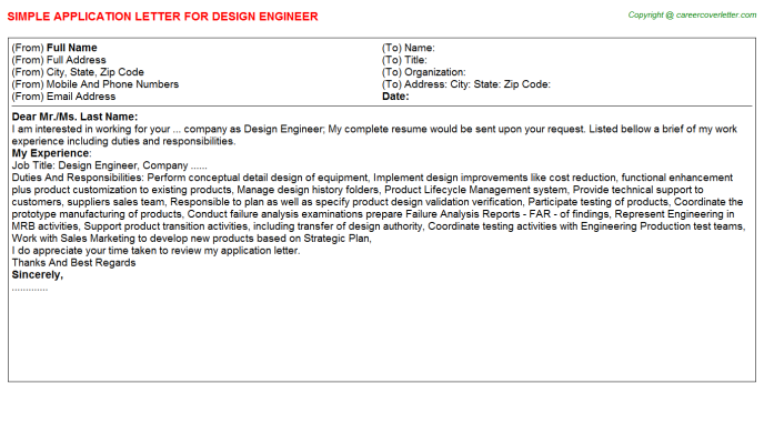 Design Engineer Application Letter Template