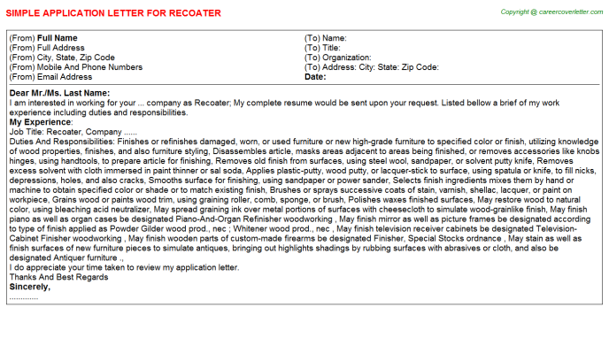 Recoater Application Letter Template