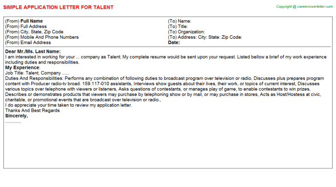 Talent Application Letter Template