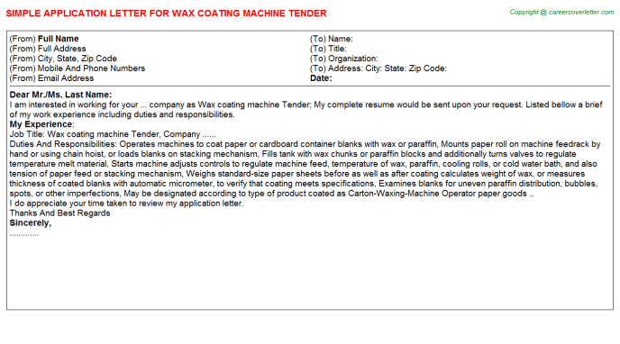 Wax coating machine Tender Application Letter Template