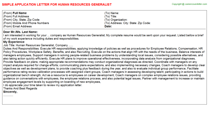Human Resources Generalist Application Letter Template