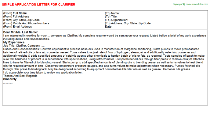 Clarifier Application Letter Template