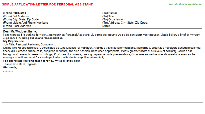 Personal Assistant Application Letter Template