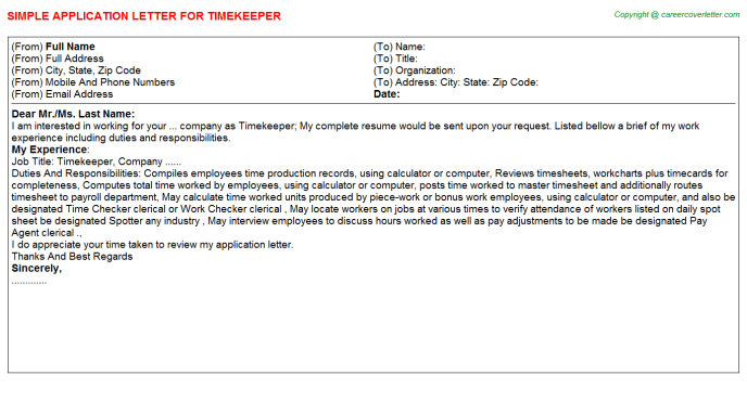 Timekeeper Job Application Letter Template