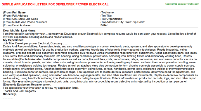 Developer prover electrical job application letter (#16392)