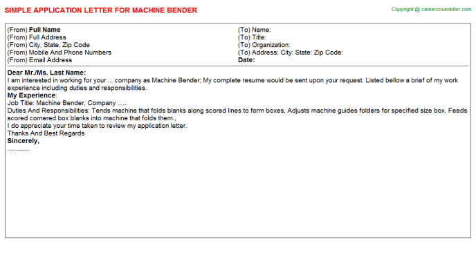 Machine Bender Application Letter Template
