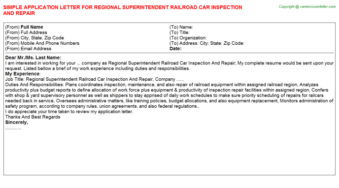 Regional Superintendent Railroad Car Inspection And Repair ...