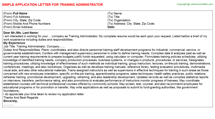training administrator application letter template