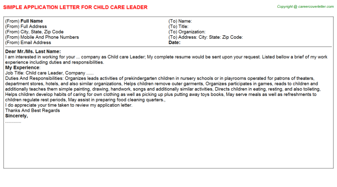 Child care Leader Application Letter Template