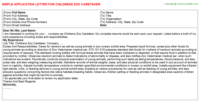 childrens zoo caretaker application letter template