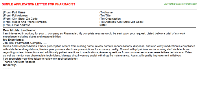 Pharmacist Application Letter Template