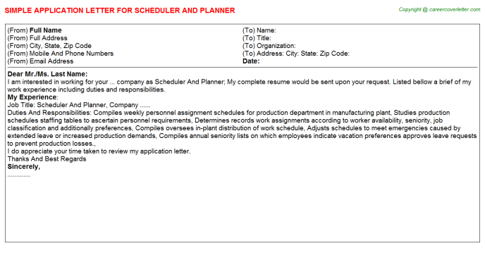 scheduler and planner application letter template