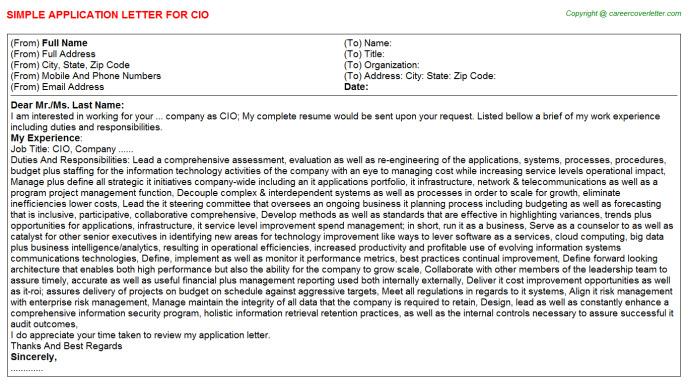 CIO Job Application Letter Template