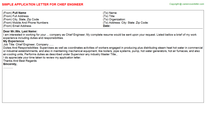 Chief Engineer Application Letter Template
