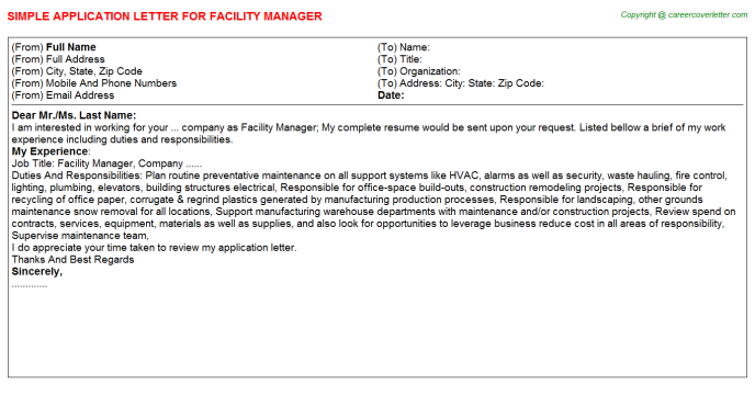 Facility Manager Job Application Letter Template