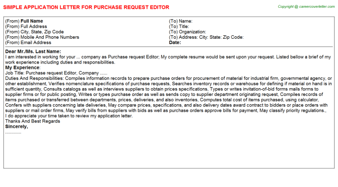 purchase request editor application letter template