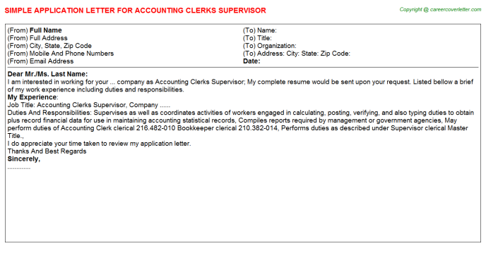 accounting clerks supervisor application letter template