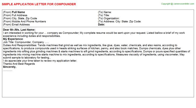 Compounder Job Application Letter Template