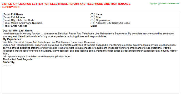 Electrical Repair And Telephone Line Maintenance Supervisor