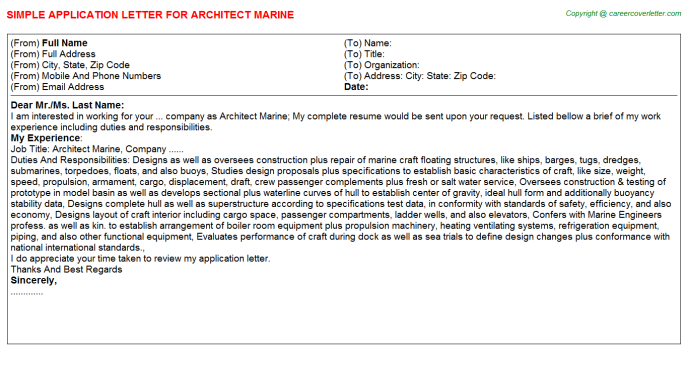 architect marine application letter template