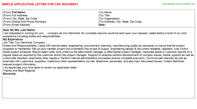 Cnc Machinist Job Application Letter Template