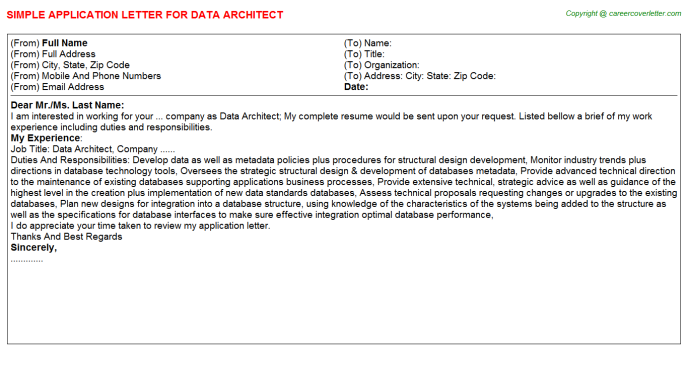 Data Architect Application Letter Template