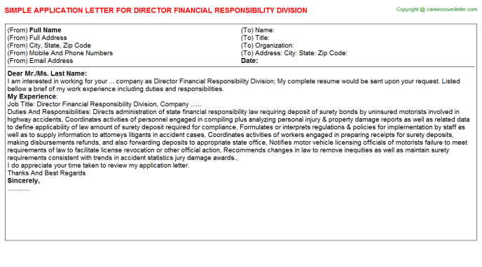 director financial responsibility division application letter template
