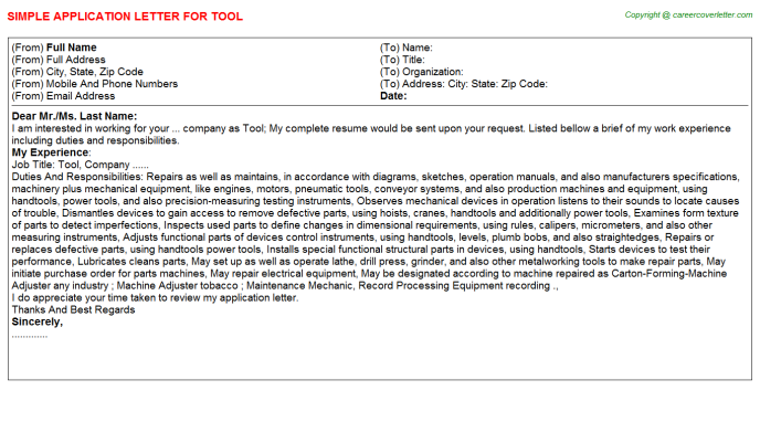 Tool Application Letter Template