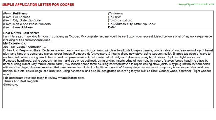 Cooper Application Letter Template
