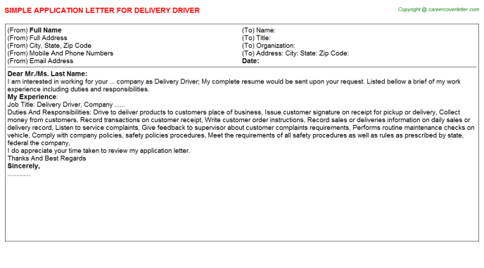 Delivery Driver Application Letter Template