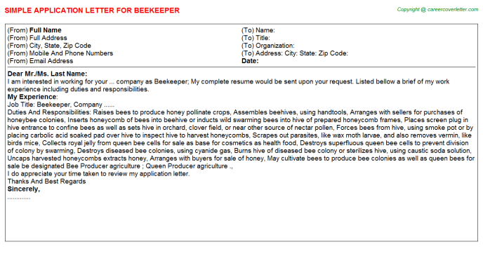 Beekeeper Job Application Letter Template