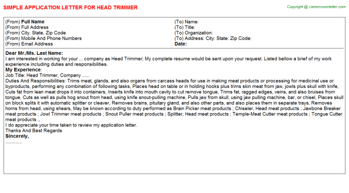 head trimmer application letter template