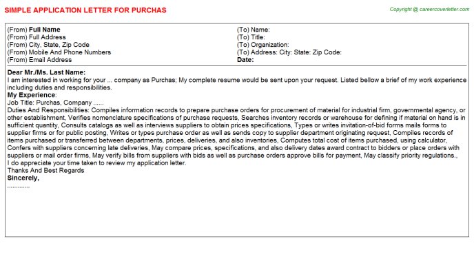 Purchas Application Letter Template