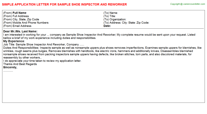 Sample Shoe Inspector And Reworker Job Application Letter Template