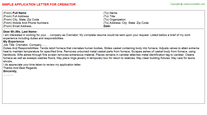 Cremator Job Application Letter Template