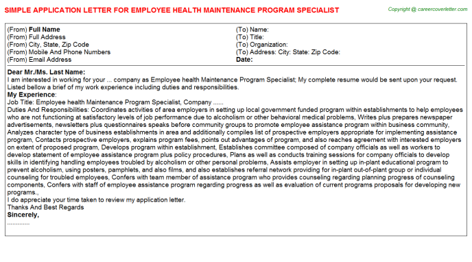 Employee Health Maintenance Program Specialist Application Letter Template