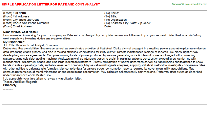 rate and cost analyst application letter template