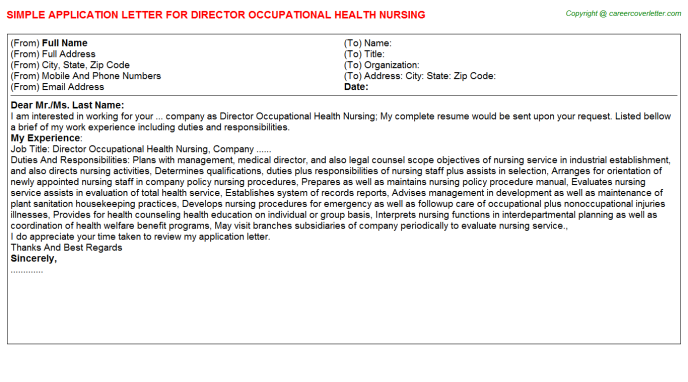 Director Occupational Health Nursing Application Letter Template