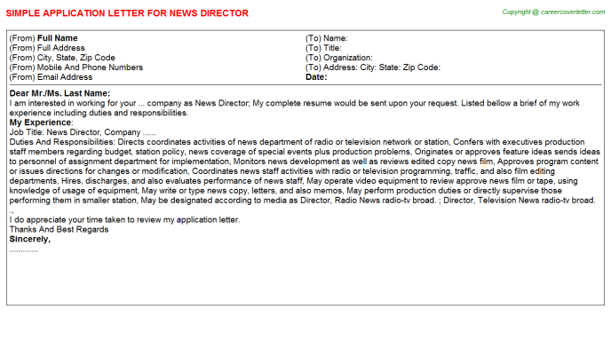 Newscast director cover letter how to write brief memos