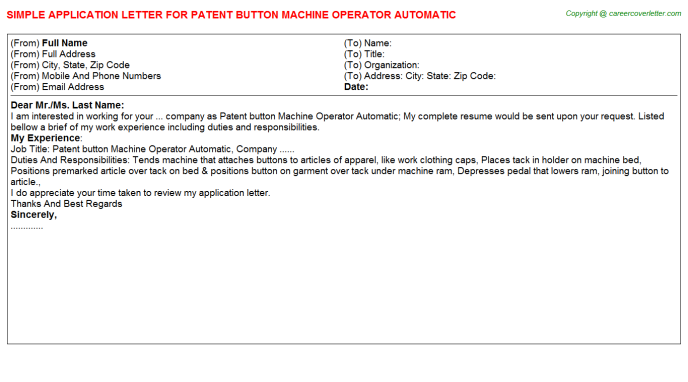 patent button machine operator automatic application letter template